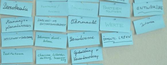 Moderationskarten zur politischen Bildung aus Krems